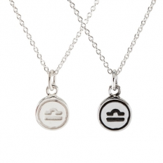 925 Sterling Silver Mini Libra Necklace - necklace,couple,key,heart,silver