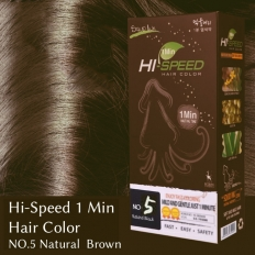 Hi-Speed 1 Min Hair Color NO.5 Natural Brown - Hi-speed 1min hair color,cosmetic hair dye,hair dye,bubble dyeing,1min bubble Dyeing,cosmetics,fast