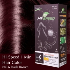 Hi-Speed 1 Min Hair Color NO.6 Dark Brown - Hi-speed 1min hair color,cosmetic hair dye,hair dye,bubble dyeing,1min bubble Dyeing,cosmetics,fast
