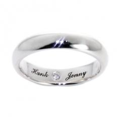 925 Sterling Silver Diamond Engraved Ring(4mm) - necklace,couple,key,heart,silver