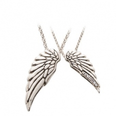 925 Sterling Silver Angel Wings Necklace - Couples Necklace - necklace,couple,key,heart,silver