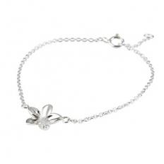 925 Sterling Silver Flower Diamond Silver Necklace - necklace,couple,key,heart,silver