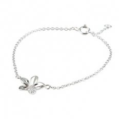 925 Sterling Silver Flower Diamond Silver Necklace - necklace,couple,key,heart,silver