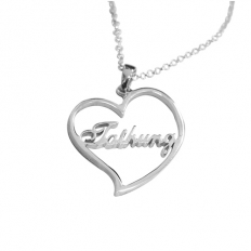 925 Sterling Silver Love Frame Name Necklace - necklace,couple,key,heart,silver
