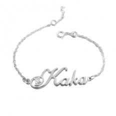 925 Sterling Silver Hand Craft Name Bracelet - bracelet,customize,name,silver