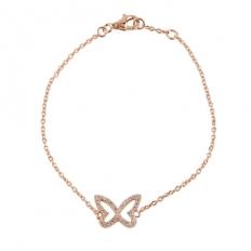925 Sterling Silver Diamond Butterfly Bracelet - necklace,couple,key,heart,silver