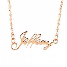925 Sterling Silver Rose Gold Name Plated Necklace - necklace,couple,key,heart,silver