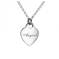 925 Sterling Silver Love Card Engraved Name Necklace - necklace,couple,key,heart,silver