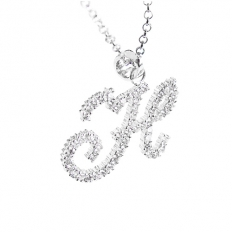 925 Sterling Silver Diamond Word Necklace - necklace,couple,key,heart,silver