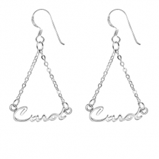 925 Sterling Silver Name Earrings - One pair price - necklace,couple,key,heart,silver