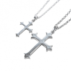 925 Sterling Silver Cross Necklace - necklace,couple,key,heart,silver