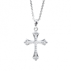 925 Sterling Silver  Elegant Diamond Cross Necklace - necklace,couple,key,heart,silver