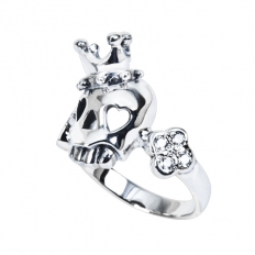 925 Sterling Silver Crown Skull Ring - necklace,couple,key,heart,silver