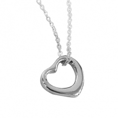 925 Sterling Silver Heart Necklace - necklace,couple,key,heart,silver