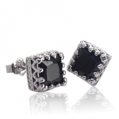 925 Sterling Silver Black Square Diamond Earrings - necklace,couple,key,heart,silver