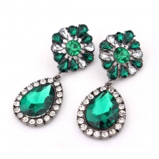 SWAROVSKI CRYSTAL Green Studs Party Earring -