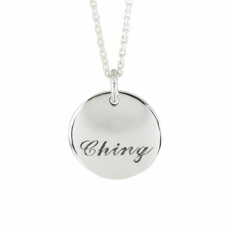 925 Sterling Silver Licensing Round Engraved Necklace - necklace,couple,key,heart,silver