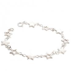 925 Sterling Silver Stars Bracelet - necklace,couple,key,heart,silver