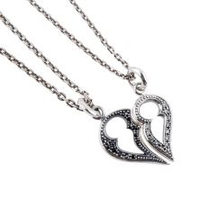925 Sterling Silver Love Necklace - Couples Necessary - necklace,couple,key,heart,silver