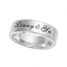 925 Sterling Silver Engraved Name Ring - necklace,couple,key,heart,silver