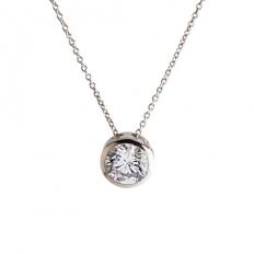 925 Sterling Silver Single Diamond Necklace - necklace,couple,key,heart,silver