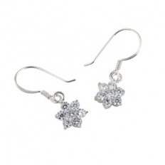 925 Sterling Silver Snowflake Earrings - silver,snowflake,earrings