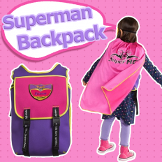 SuperME Bubblicious Cape Backpack - Children, bags, Superman, modeling
