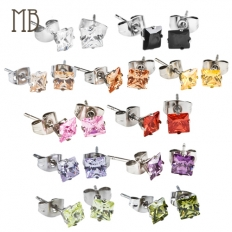 Square Shape Diamond Earrings - 316 Stainless Steel - earrings,steel,316l