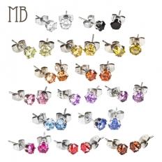 Round Shape Diamond Earrings - 316 Stainless Steel - earrings,steel,316l