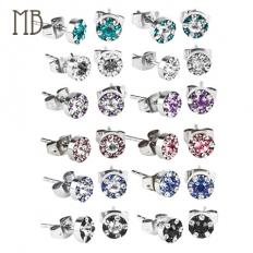 Colorful Round Shape Diamond Earrings - 316 Stainless Steel - earrings,steel,316l