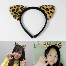 Cat Ears with Leopard Print Hair Band - hair-band