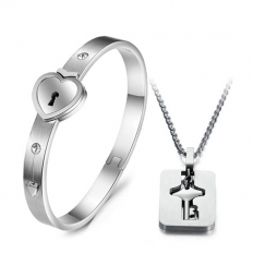 Couples Stainless Steel Bracelet+Necklace -