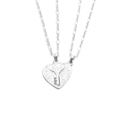 925 Sterling Silver Key Couples Necklace -
