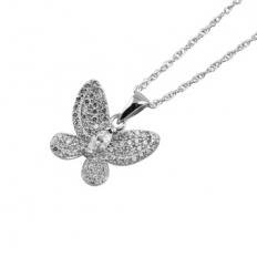 925 Sterling Silver Shiny Butterfly Necklace - necklace,couple,key,heart,silver