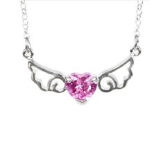 925 Sterling Silver Angel Pink Necklace - necklace,couple,key,heart,silver