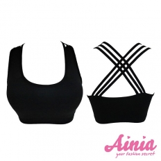 Back Crossing Vest Bra - Black -