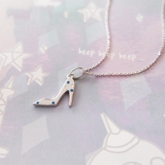 Elegant Mini High Heeled Shoes Pendant in Sterling Silver Necklace -