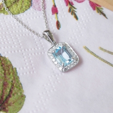 Dazzling Gem Series Simple Cubic Gemstone - Sky Blue Pendant In Sterling Silver Necklace -
