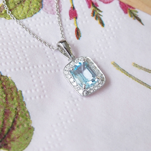 Dazzling Gem Series Simple Cubic Gemstone - Sky Blue Pendant In Sterling Silver Necklace