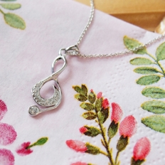 Romantic Music Note Pendant With Pave Diamonds in Sterling Silver Necklace - silver, jewelry, fashion, accessories