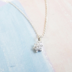 Mini Diamond Snow Crystal in Sterling Silver Necklace - silver, jewelry, fashion, accessories