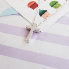 Sterling Silver Mini Cross Necklace - silver, jewelry, fashion, accessories